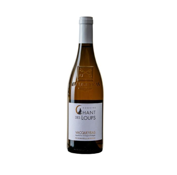 bouteille de vin détourée AOC Vacqueyras bio blanc Domaine Chant des Loups