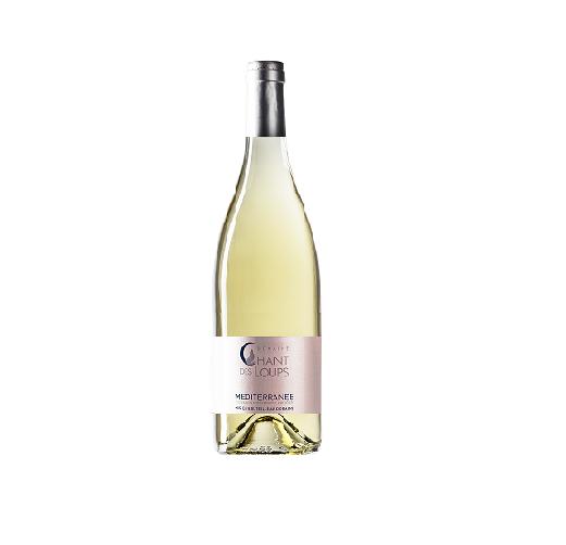 bouteille de vin détourée IGP Méditerranée blanc chant des loups