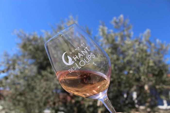 Verre de vin IGP rosé chant des loups devant un olivier