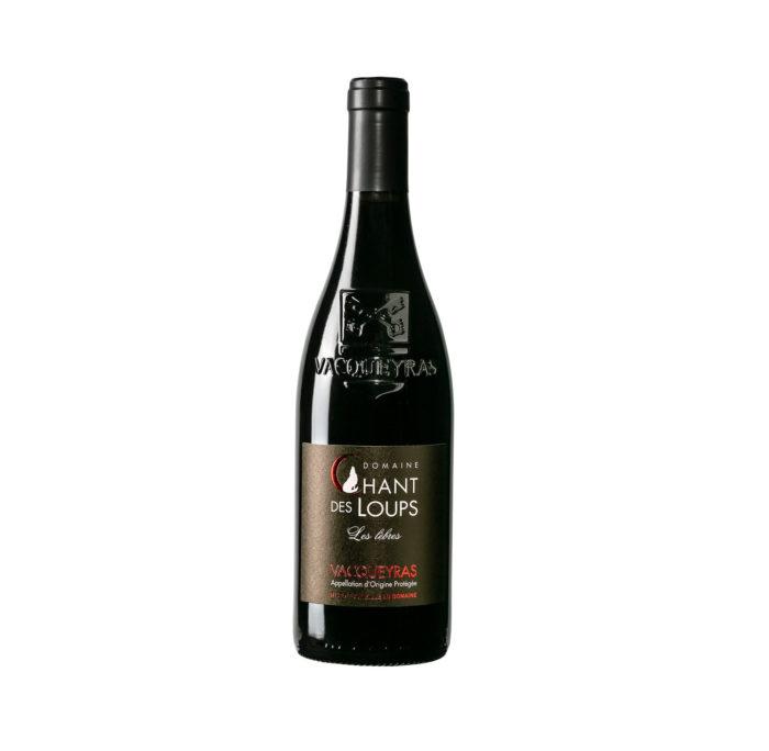 """bouteille de vin détourée Vacqueyras rouge BIO """"Les Lèbres"""" du Domaine Chant des Loups"""