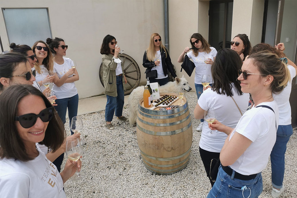 groupe de visiteurs pendant la dégustation des vins bio sous la pergola